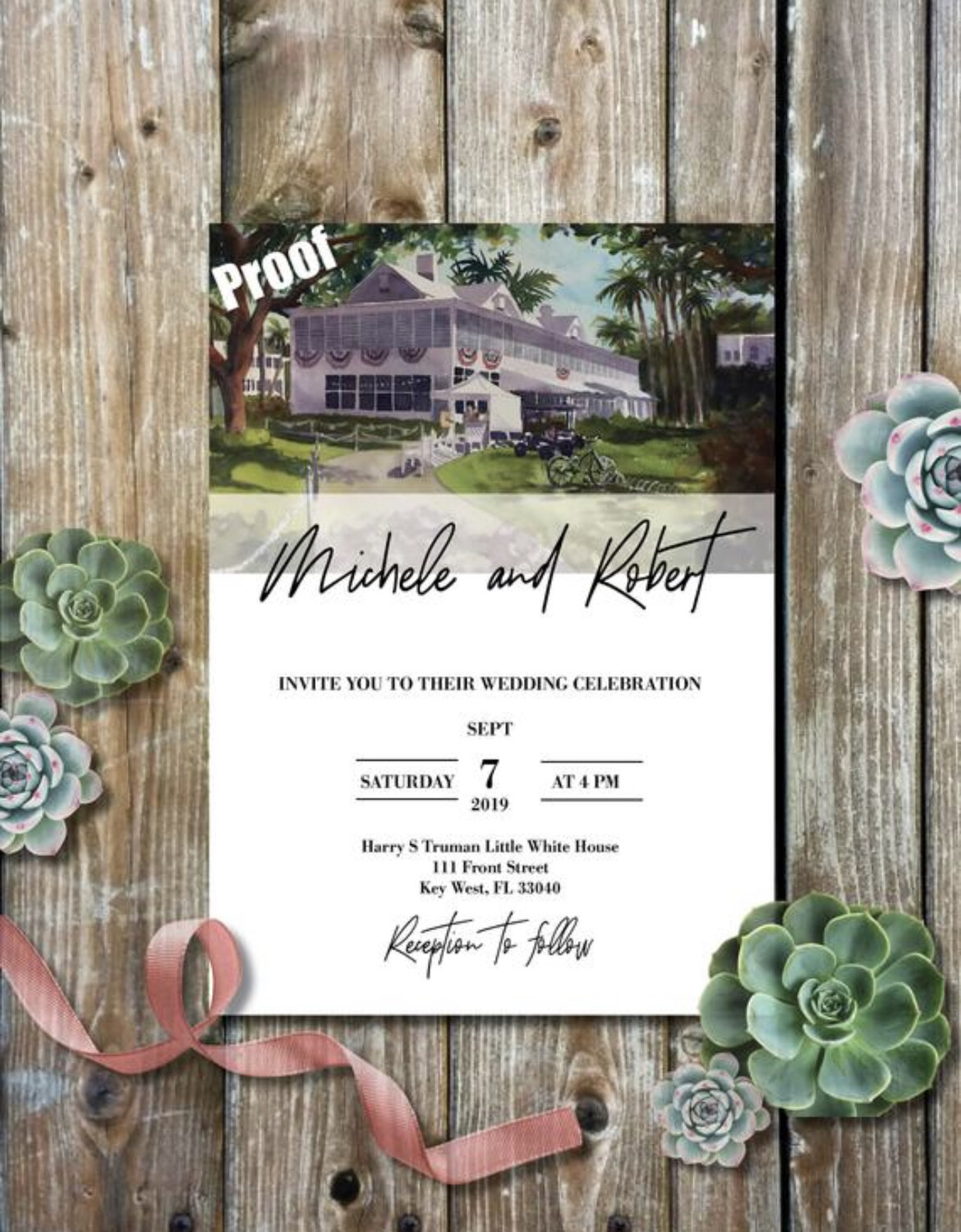 Harry S. Truman Little White House in Key West, FL - Wedding Invitations on Luxurious Paper with Envelopes - Set of 25 - Watercolor Invitation