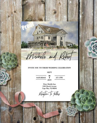 Peter Shields Inn in Cape May, NJ - Wedding Invitations on Luxurious Paper with Envelopes - Set of 25 - Watercolor Invitation