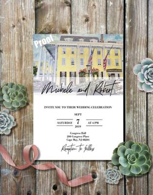 Congress Hall in Cape May, NJ - Wedding Invitations on Luxurious Paper with Envelopes - Set of 25 - Watercolor Invitation