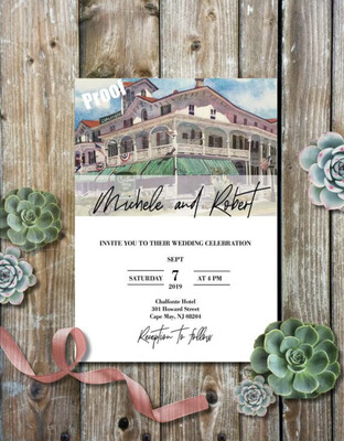 Chalfonte Hotel in Cape May, NJ - Wedding Invitations on Luxurious Paper with Envelopes - Set of 25 - Watercolor Invitation