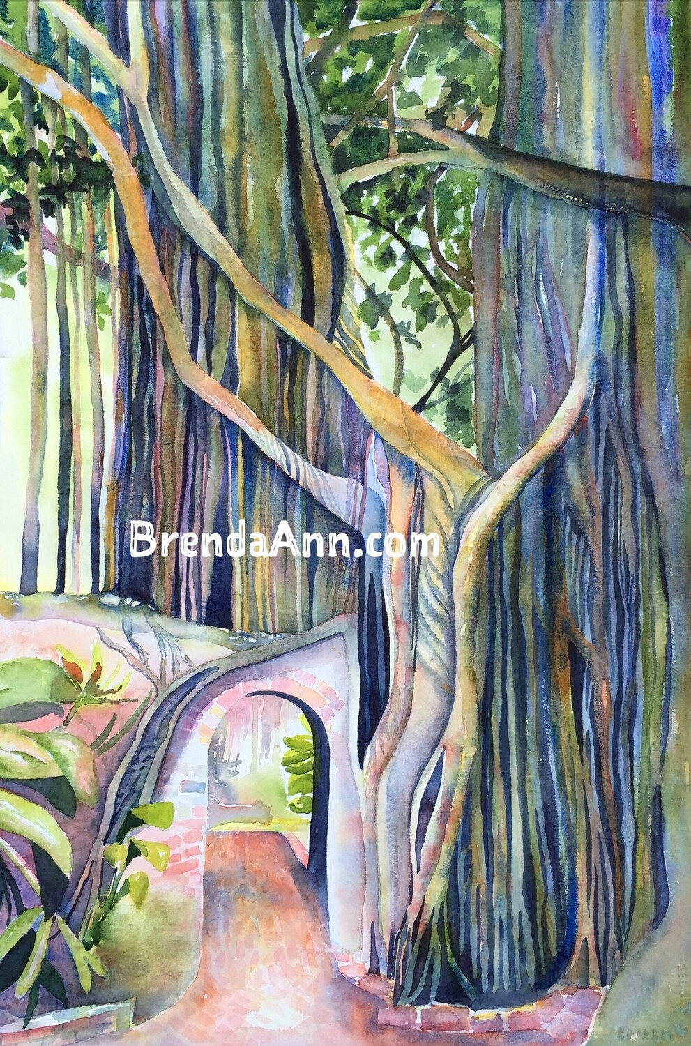 Key West Garden Club West Martello (Second Version) in Key West, FL - Hand Signed Archival Watercolor Print