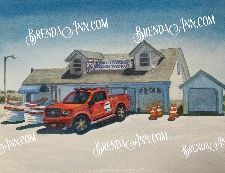 Stone Harbor Beach Patrol in Stone Harbor, NJ - Hand Signed Archival Watercolor Print