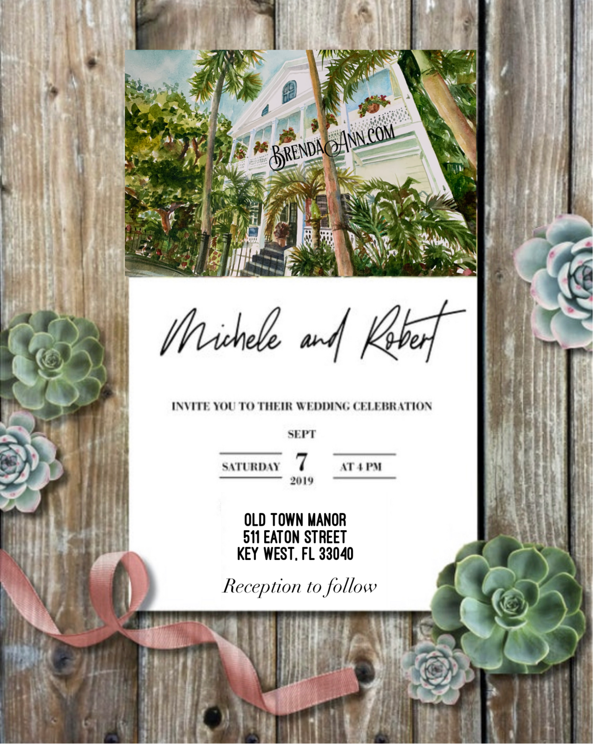 Old Town Manor in Key West, FL - Wedding Invitations on Luxurious Paper with Envelopes - Set of 25 - Watercolor Invitation
