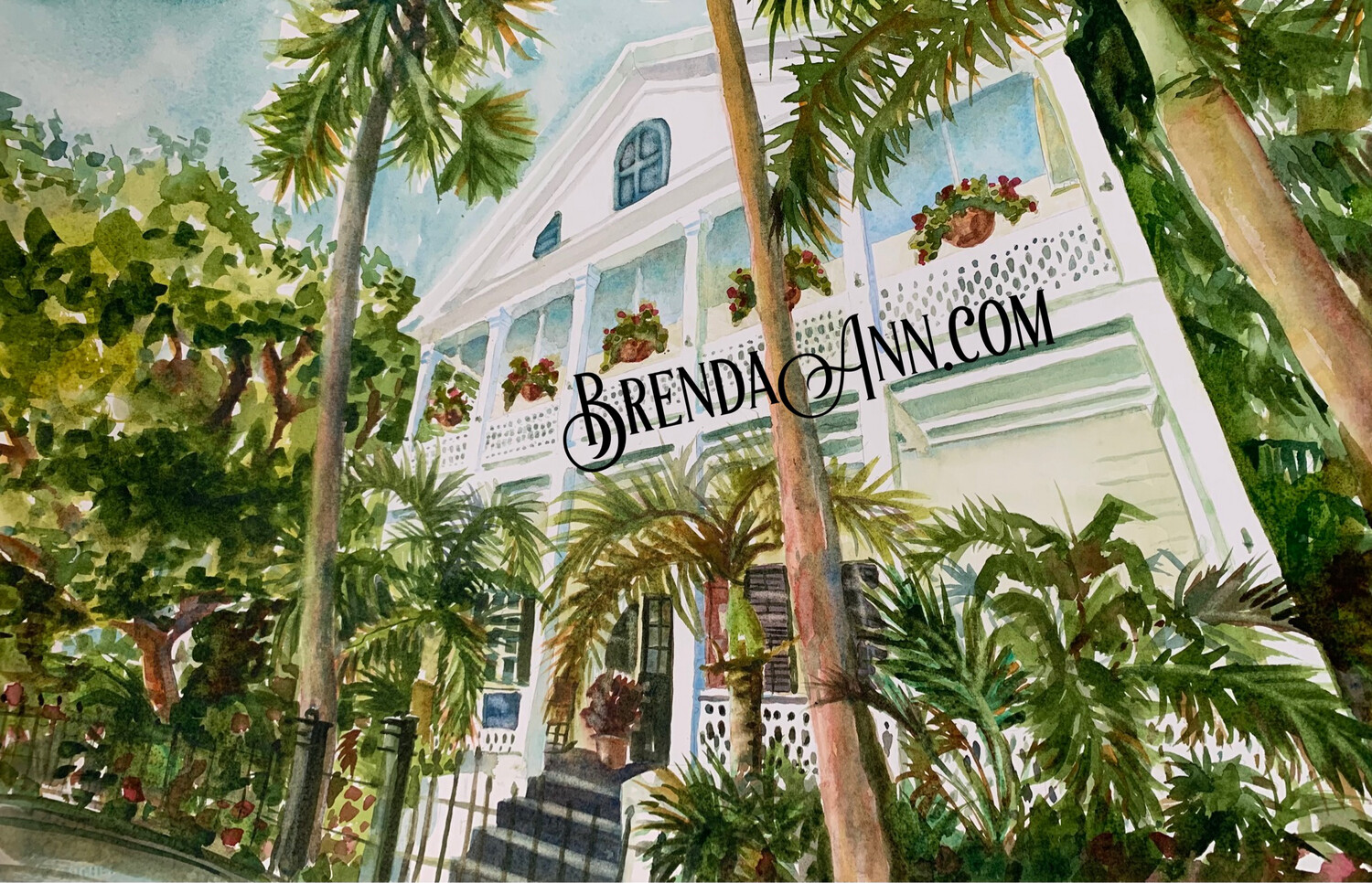 Old Town Manor in Key West, FL - Hand Signed Archival Watercolor Print