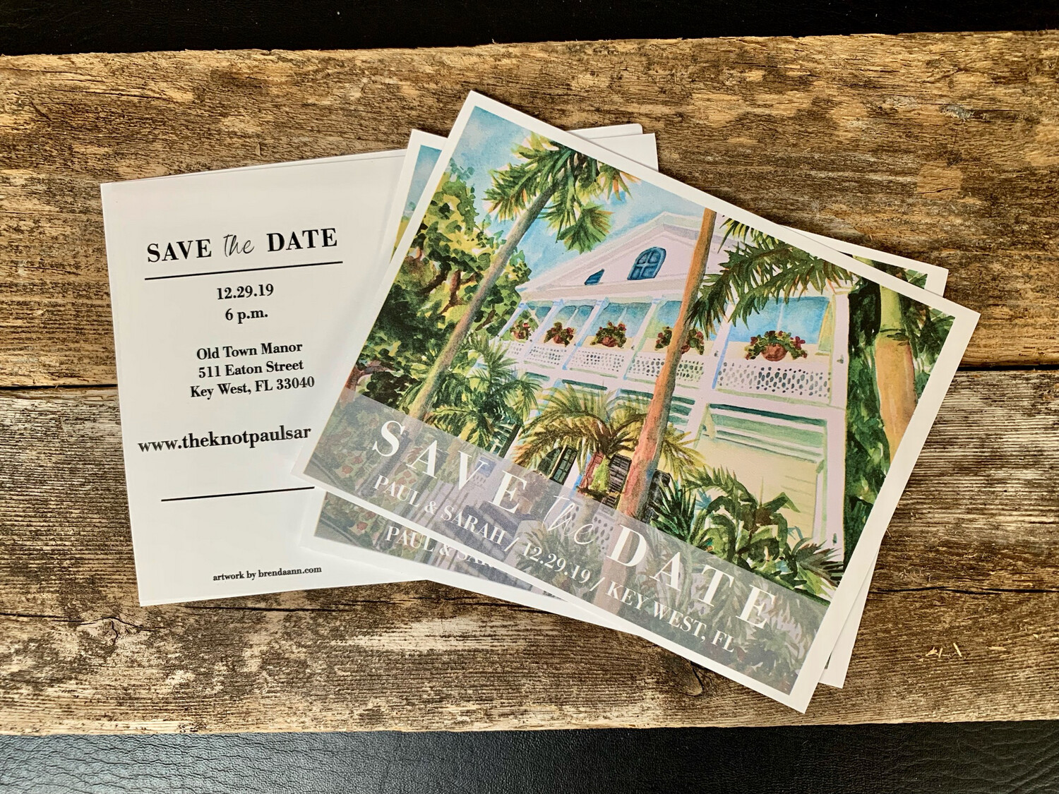 Wedding Save the Date Cards - Old Town Manor in Key West FL - Watercolor by Brenda Ann