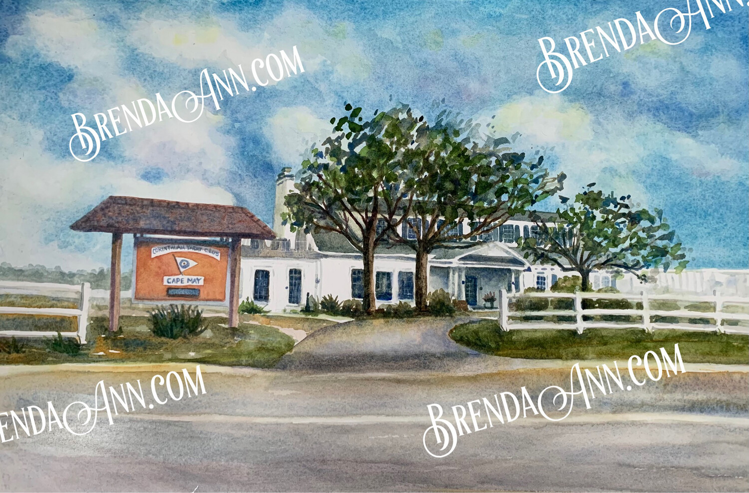 Wedding Save the Date Cards - Corinthian Yacht Club of Cape May NJ - Watercolor by Brenda Ann