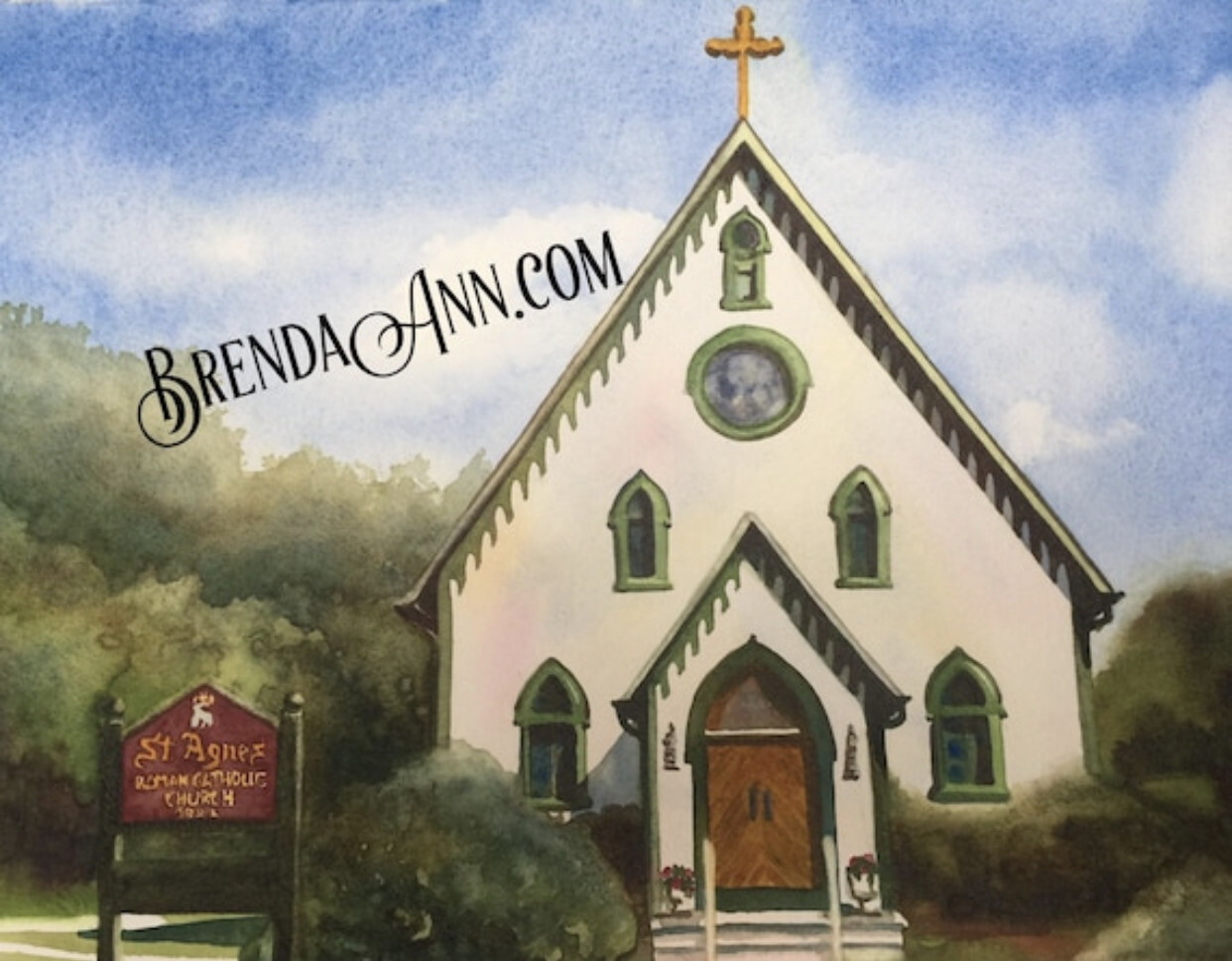 St. Agnes Catholic Church in Cape May, New Jersey - Hand Signed Archival Watercolor Print
