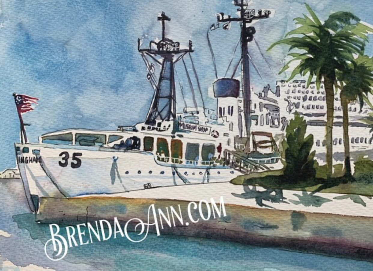 USCGC Ingham Coast Guard Maritime Museum WHEC-35 in Key West - Hand Signed Archival Watercolor Print