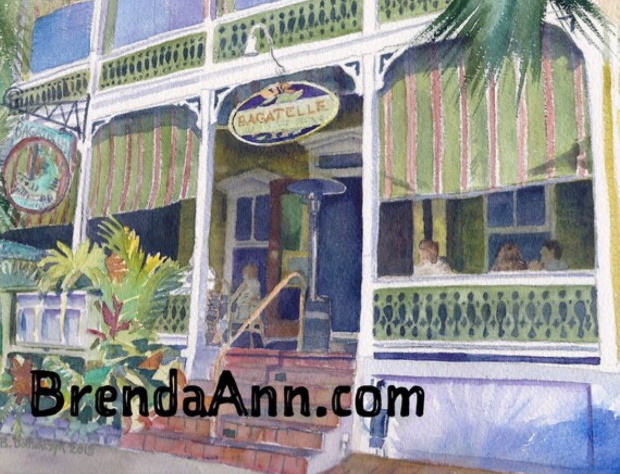 Bagatelle in Key West - Hand Signed Archival Watercolor Print