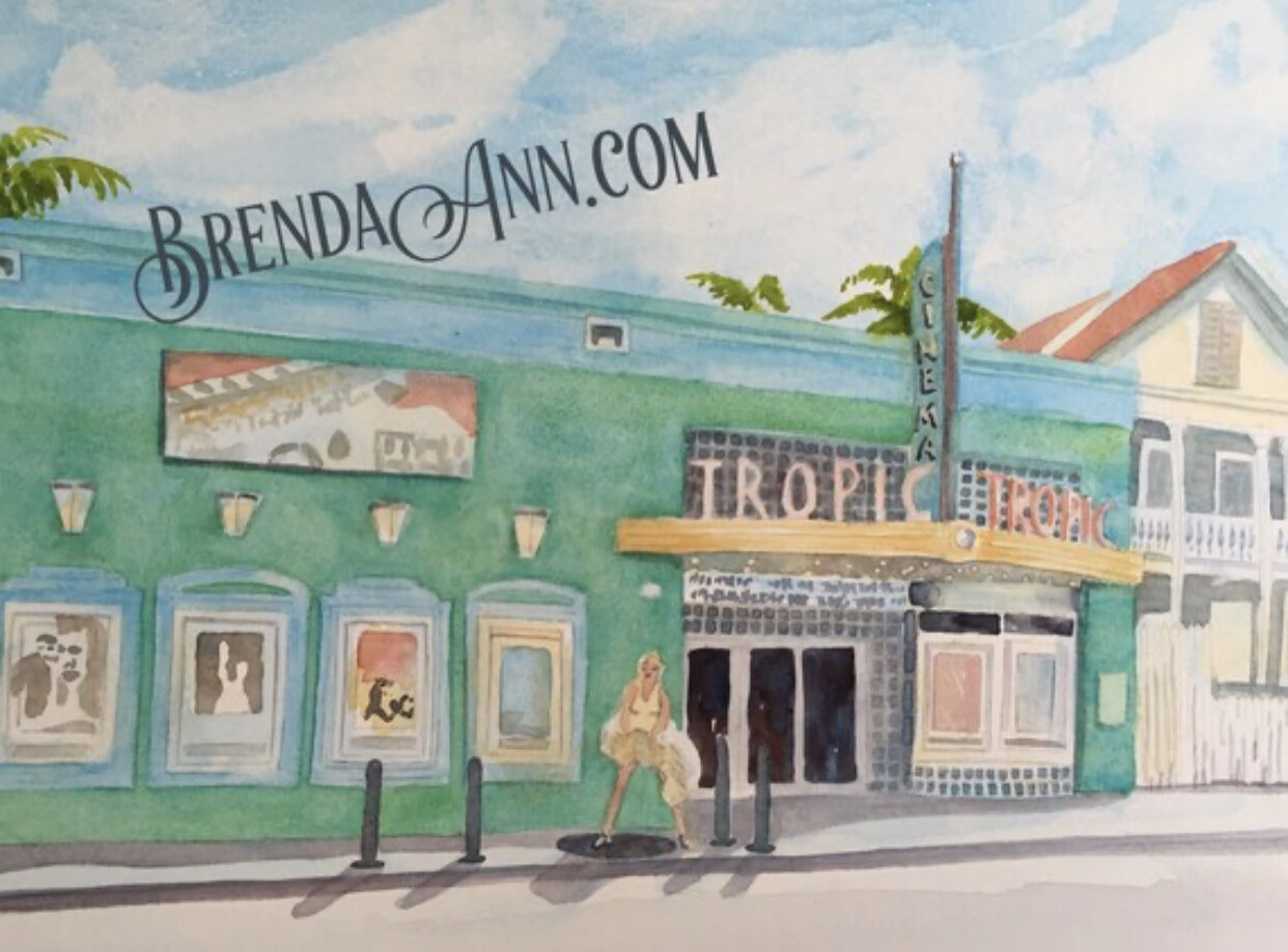 Tropic Cinema in Key West - Hand Signed Archival Watercolor Print