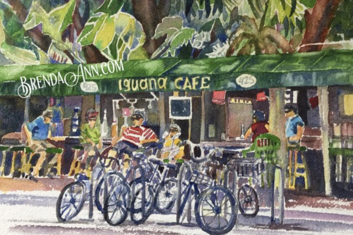 Iguana Café in Key West - Hand Signed Archival Watercolor Print