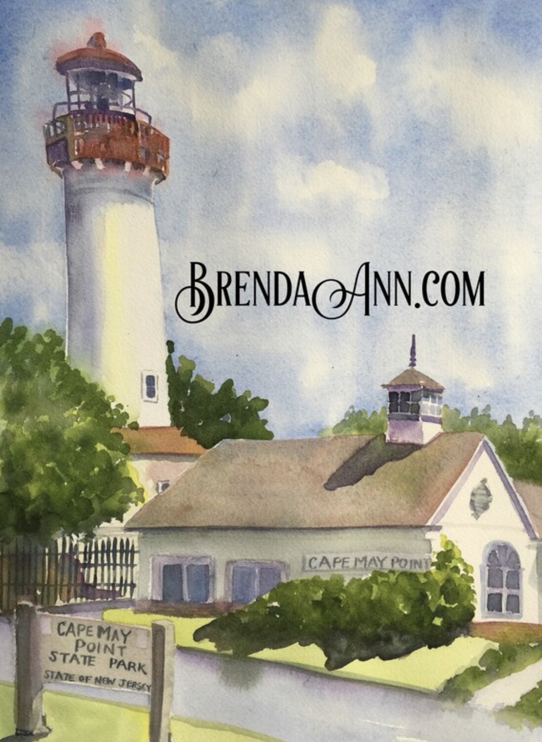 Cape May Point Lighthouse in Cape May, NJ - Hand Signed Archival New Jersey Watercolor Print