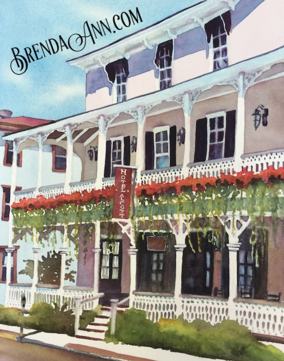 Hotel Alcott in Cape May, NJ - Hand Signed Archival Watercolor Print