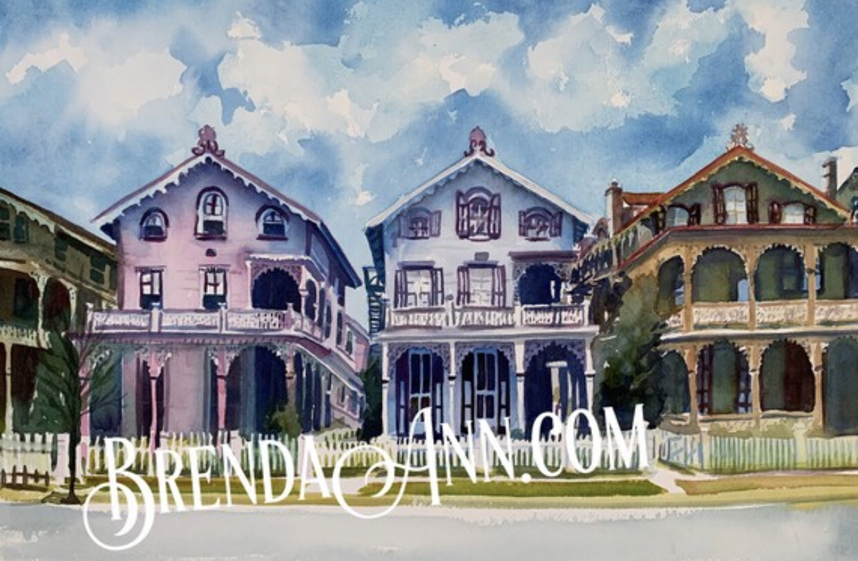 Stockton Cottages on Gurney Street in Cape May NJ - Hand Signed Archival Watercolor Print