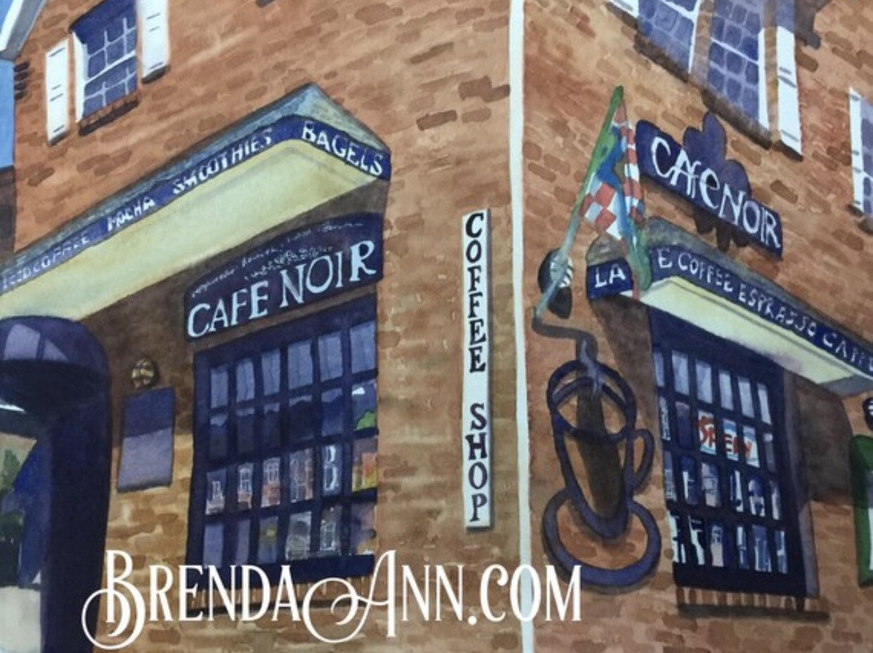 Cafe Noir - Café Noir in Stone Harbor, NJ - Hand Signed Archival Watercolor Print