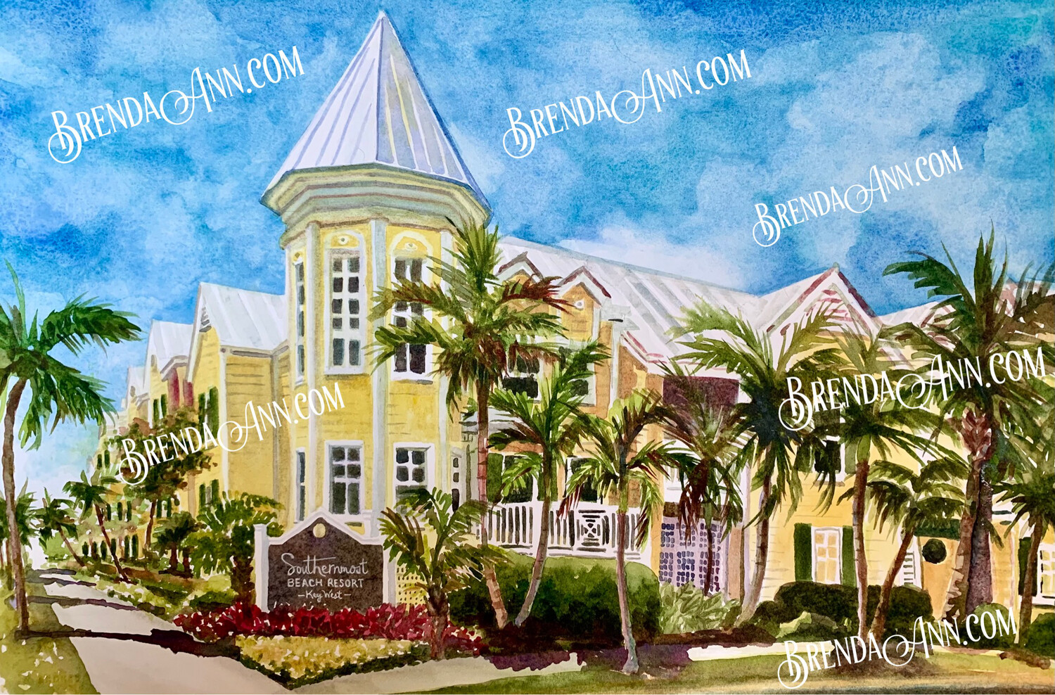 Southernmost Beach Resort in Key West, FL - Hand Signed Archival Watercolor Print