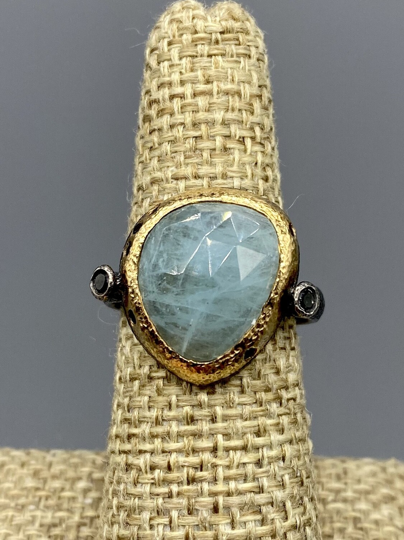 Sz 8 3/4 Aquamarine w/Black Diamonds 18k Ring - Rona Fisher Philadelphia PA