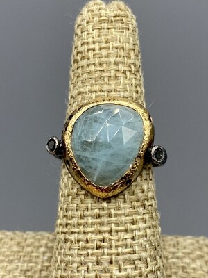 Aquamarine with Black Diamonds Ring