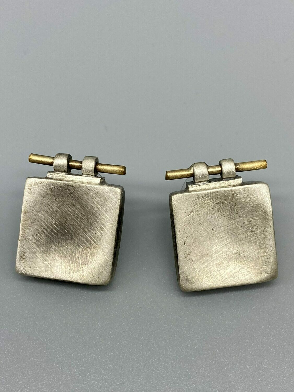 Brushed Sterling Silver Bar Top Post Earrings