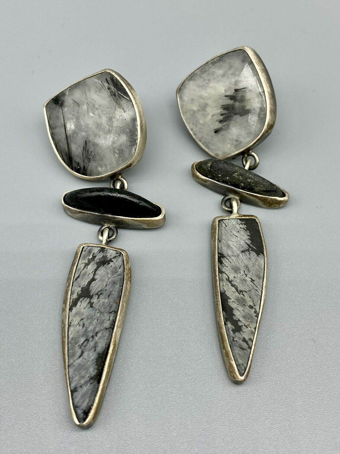 Bezel Set Multistone Earrings