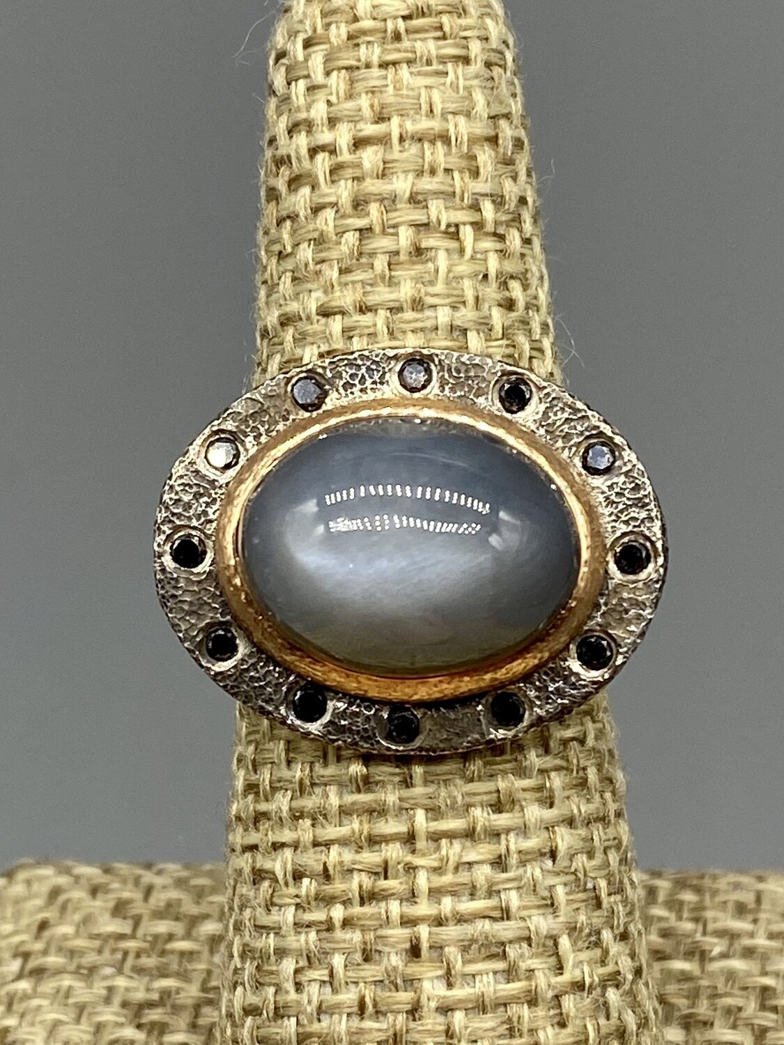 Sz 7 Misty Grey Moonstone  18k Rose Gold w/Black Diamonds (.25 tcw) Ring - Rona Fisher Philadelphia PA