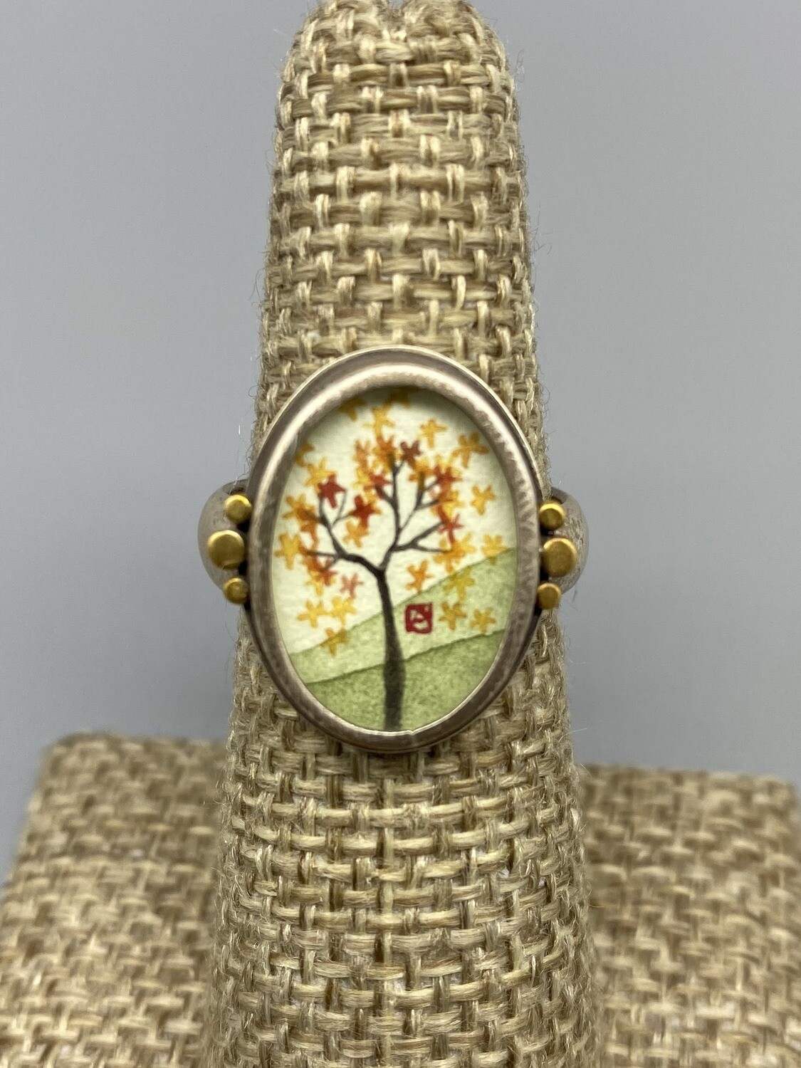 Hand Painted Autumn Maple Ring