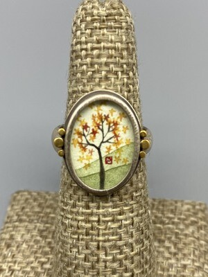 Hand Painted Autumn Maple Ring, 22k Accents and Sterling Silver  - Ananda Khalsa - Northampton, MA