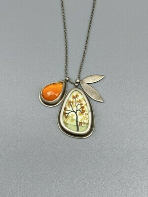 Hand Painted Autumn Maple with Carnelian