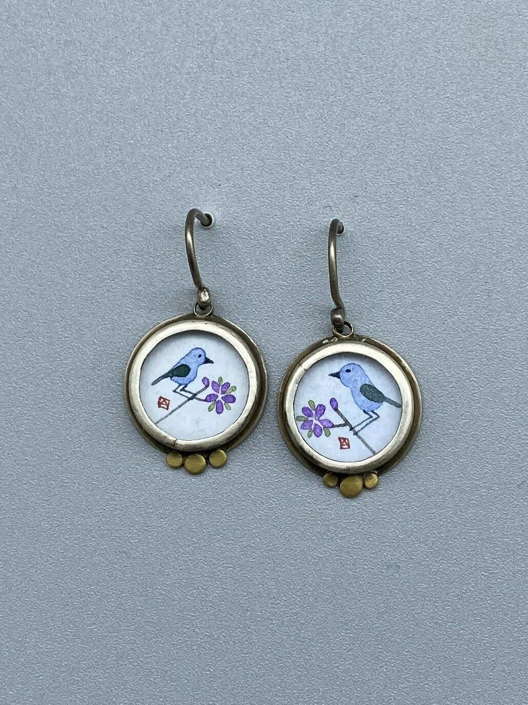 Hand Painted Bluebird Earrings w/22k Gold Accents & Sterling Silver - Ananda Khalsa - Northampton MA