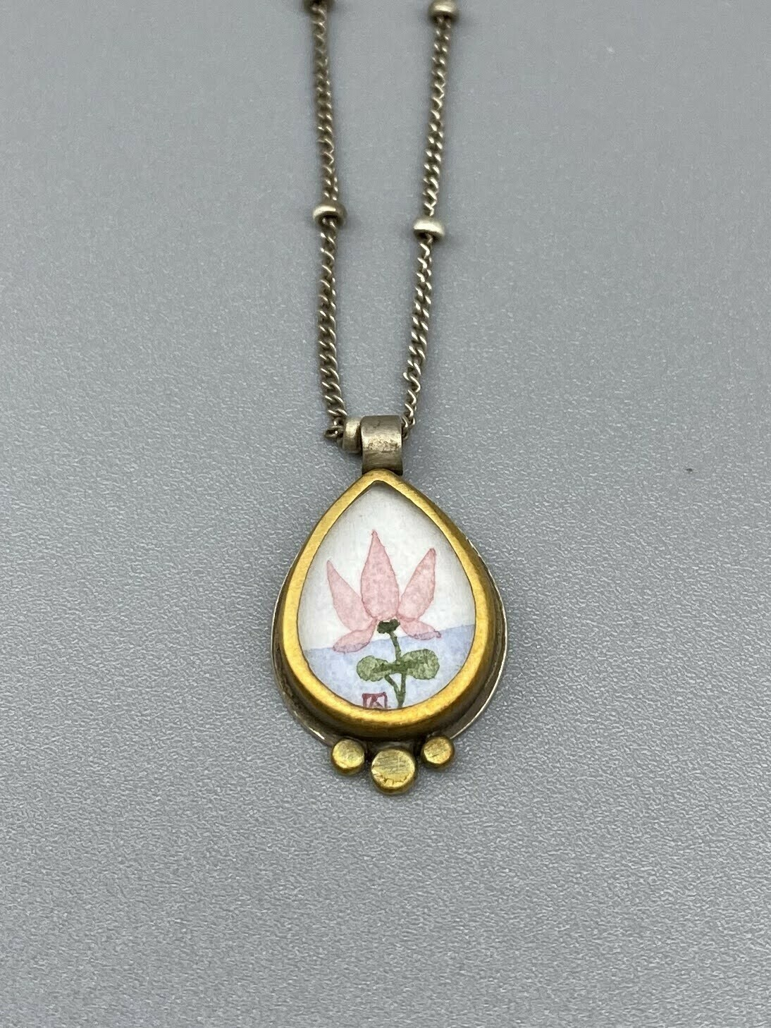 Hand Painted Lotus Necklace