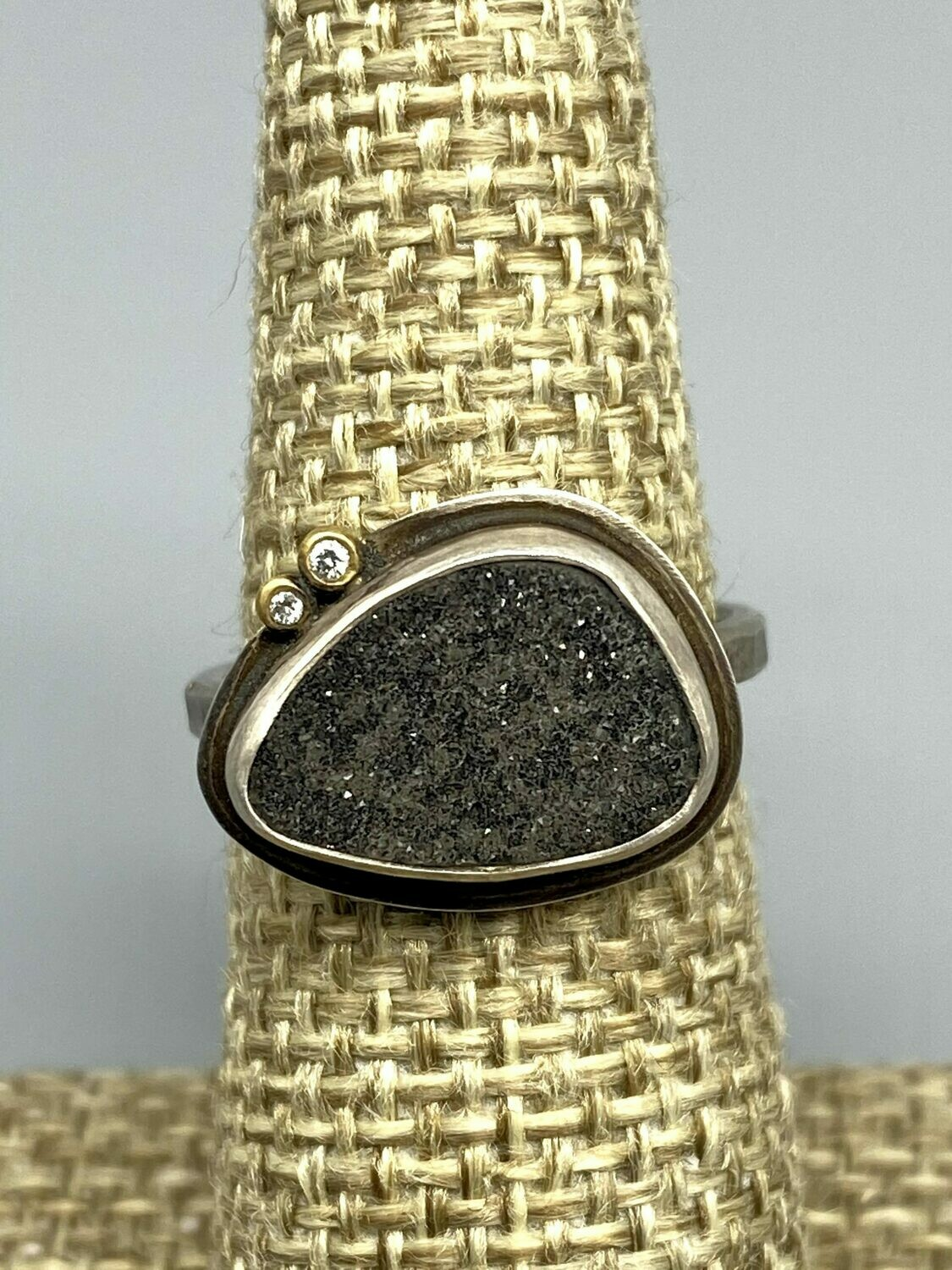 Black Druzy Ring, Sterling Silver w/Diamond Accents Size 6 3/4 - Ananda Khalsa - Northampton MA