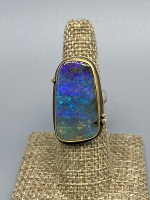 Boulder Opal w/three diamonds and 22K bezel - Ananda Khalsa - Northampton, MA