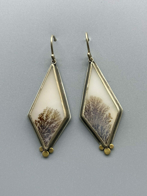 Dendritic Agate Drop Earrings, Sterling Silver, 22k - Ananda Khalsa - Northampton MA