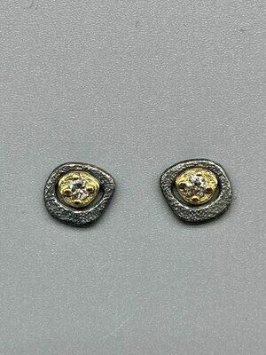 Grey Diamond (tcw .12) s/s & 18k Yellow Gold Posts -  Rona Fisher Philadelphia PA