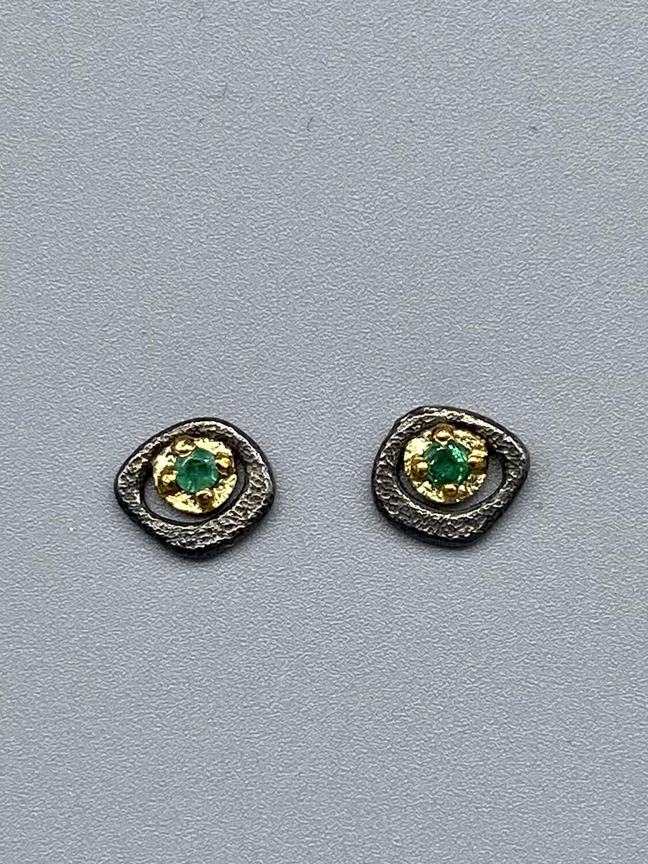Emerald (tcw .15) s/s & 18k Yellow Gold Posts -  Rona Fisher Philadelphia PA