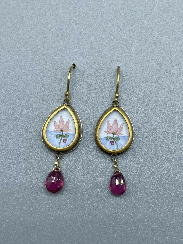 Hand Painted Lotus Drop Earring
