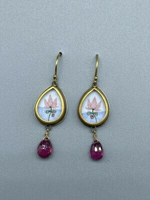 Hand Painted Lotus Drop Earring w/22k Bezel, 18k Ear Wires, s/s and Pink Tourmaline - Ananda Khalsa - Northampton MA