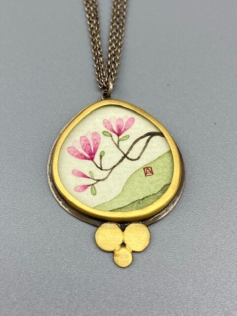 Hand Painted Magnolia Pendant Necklace 22k Gold and Sterling Silver - Ananda Khalsa, Northampton MA