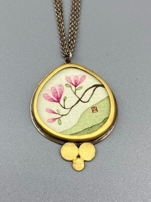 Hand Painted Magnolia Pendant Necklace