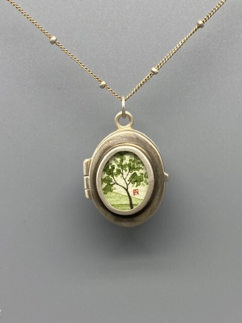Hand Painted Spring Maple Locket Necklace