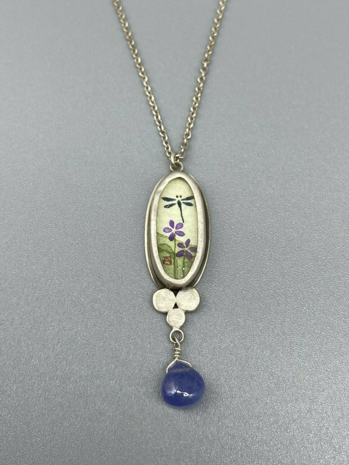Hand Painted Dragonfly Necklace w/Tanzanite Drop, Sterling Silver  - Ananda Khalsa - Northampton MA