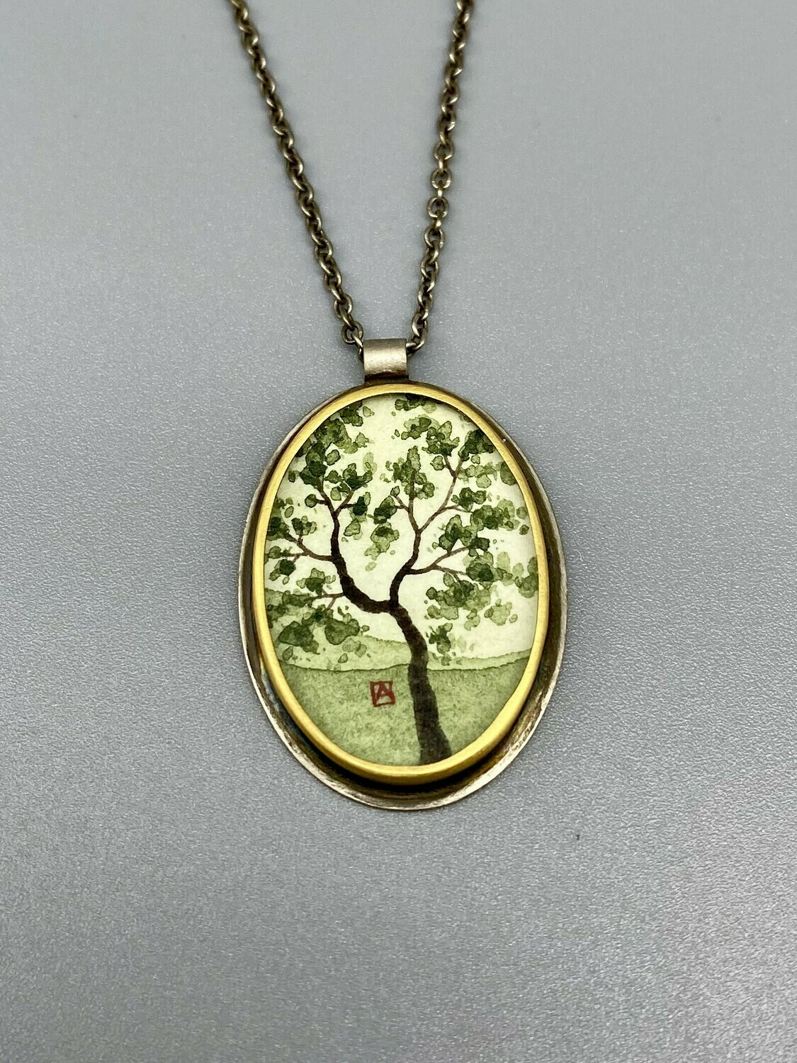 Hand Painted Spring Maple Oval Necklace, 22k Bezel and Sterling Silver  - Ananda Khalsa - Northampton MA