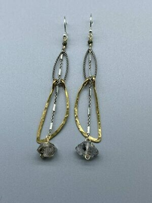 Hand Woven Gemstone  Earrings, Sterling Silver, Brass, Copper and/or Gold Fill -  Vanessa Gilbert - Rockport, MA