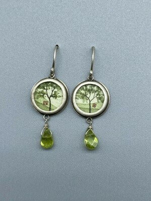 Hand Painted Spring Maple Drop Earring