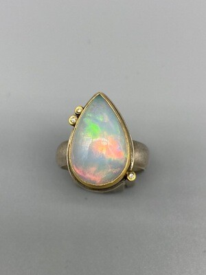 Teardrop Opal Ring, 22k Bezel, Diamonds - Ananda Khalsa, Northampton MA