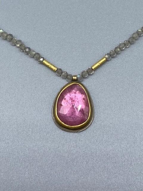 Rose Cut Pink Tourmaline on Beaded Labradorites w/22k Bezel and Beads  -  Ananda Khalsa  - Northampton MA
