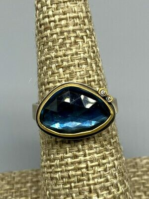 7.25 Rose Cut London Blue Topaz Ring w/22k, Diamonds & Sterling Silver - Ananda Khalsa - Florence MA