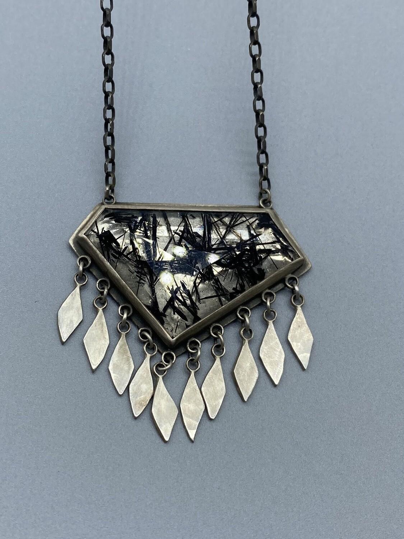 Tourmalated Quartz Necklace w/Sterling Silver Bezel and Fringe - Ananda Khalsa, Northampton MA