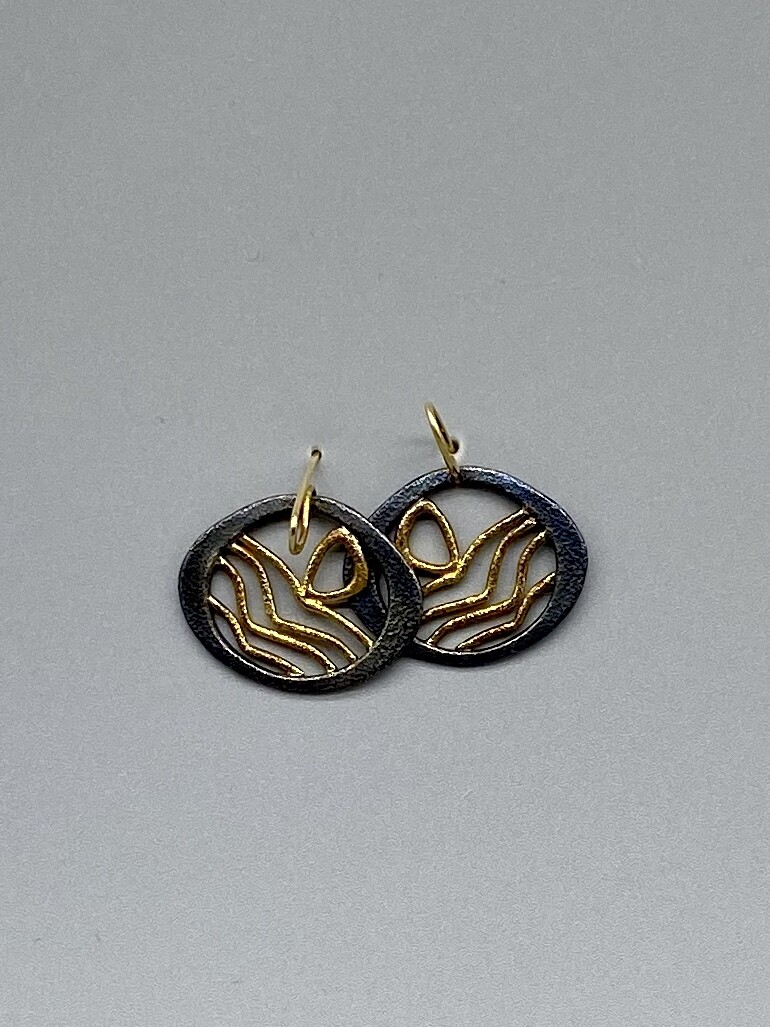 18k and Sterling Silver Lake Sunrise Earrings, Approx 1