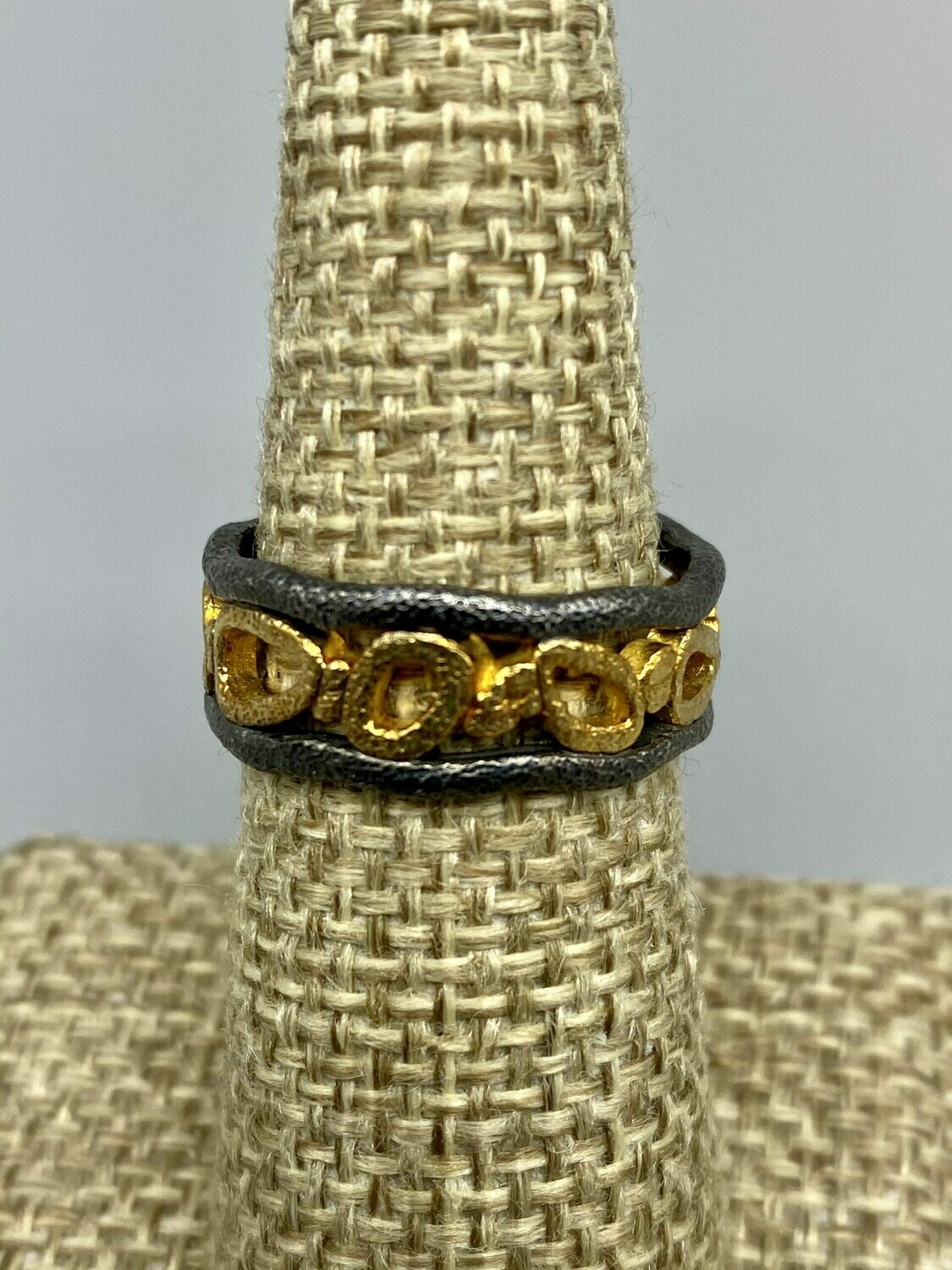 Sz 7.5 18k and Sterling Silver, Floating Pebbles Band - Rona Fisher Philadelphia PA